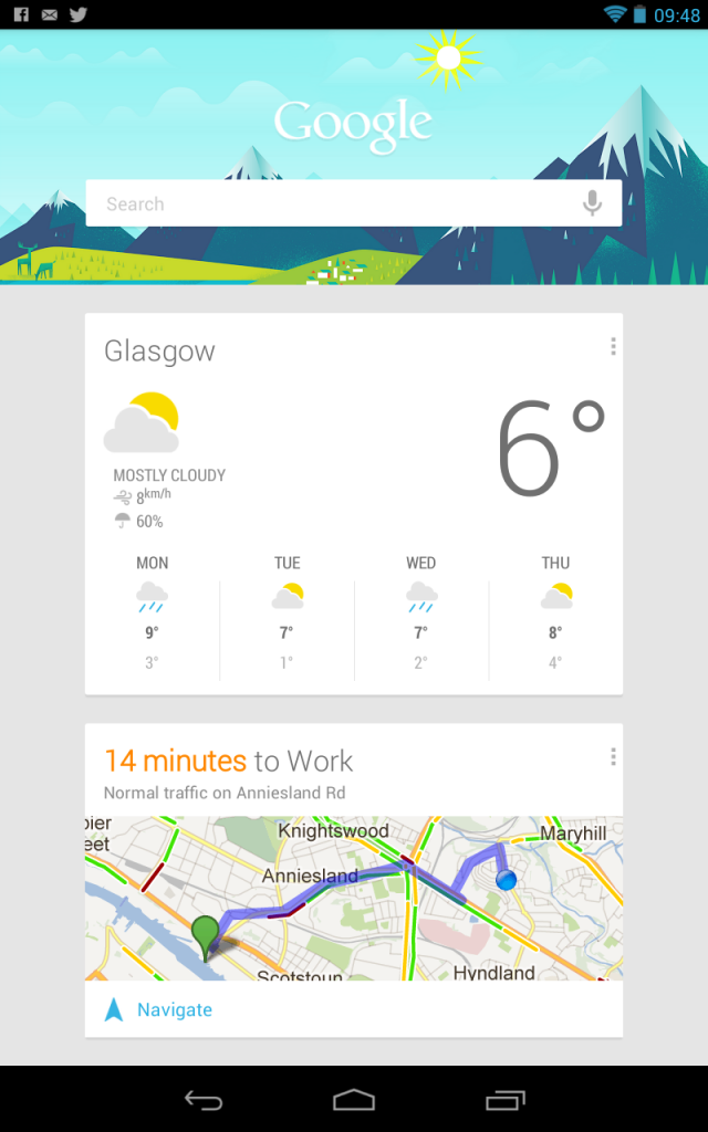An example of Google Now in action. Local weather and journey time to work.