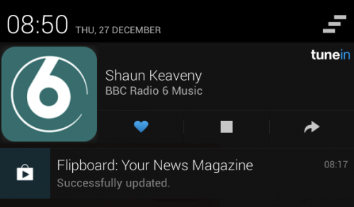 Ability to control TuneIn Radio from the notification screen