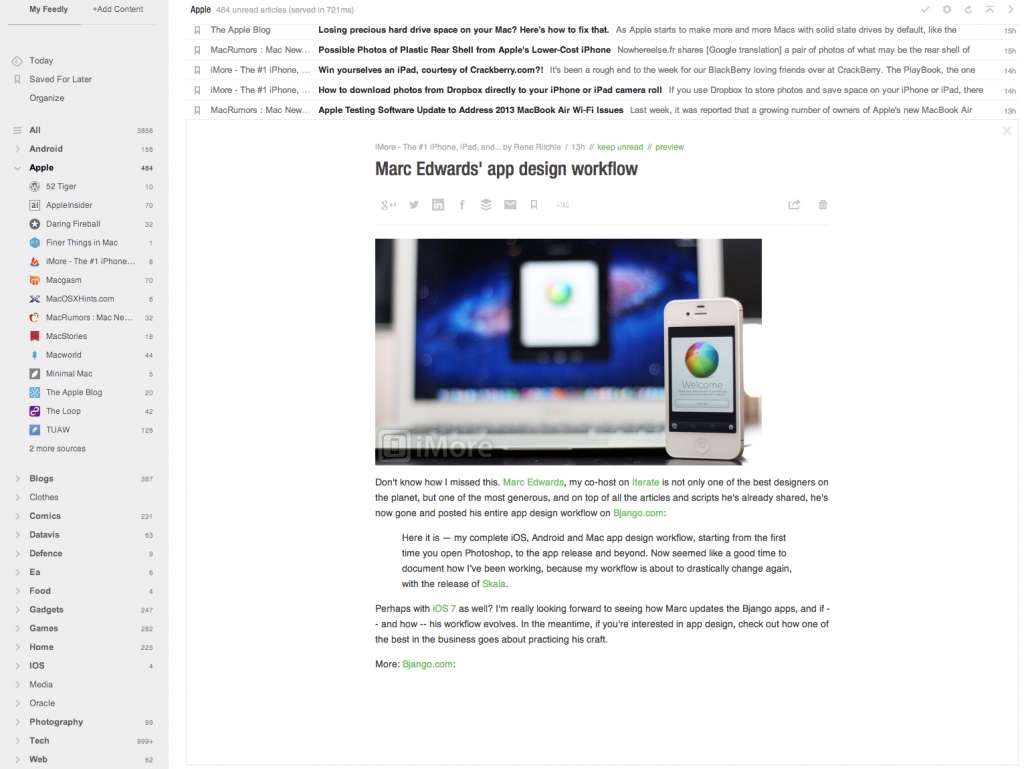 Article view in Feedly